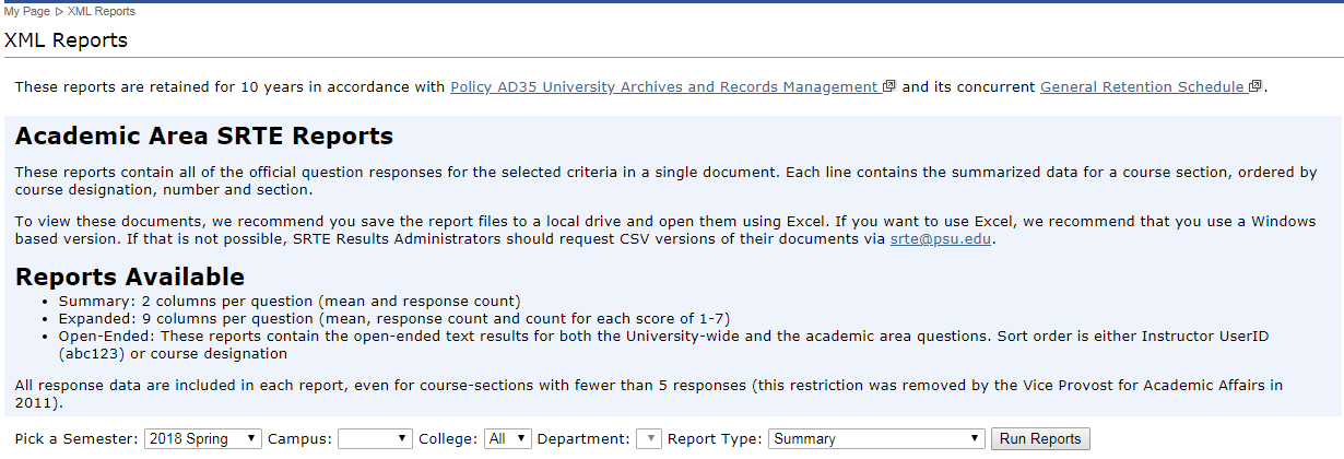Image of Academic Area Reports Menu Image