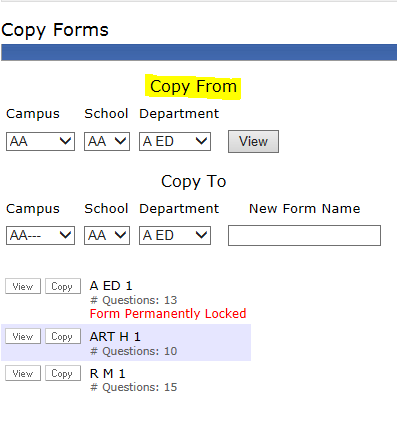 Dropdowns for Copy From Option