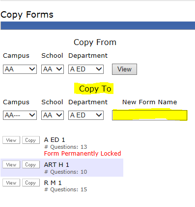 Dropdowns for Copy To Option