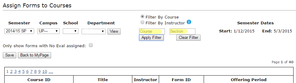 Image of Assign Forms tool with highlighted emphasis on the course filter option.